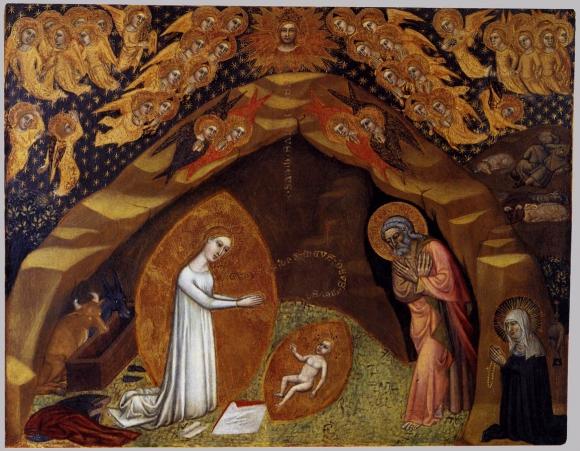 Niccolo di tommaso sainte brigitte de sue de a une vision de la nativite 1373 1375 de trempe sur bois vatican pinacothe que